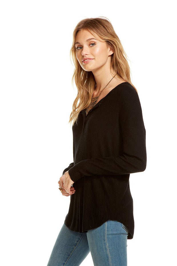 Chaser - Love Rib Oversized Dolman Henley True Black