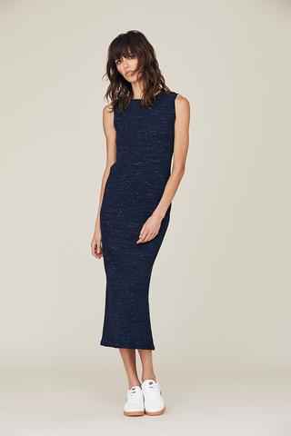 David Lerner - Zoe Scoop Back Muscle Midi Dress Shown in Black, Comes In Light Heather Gray