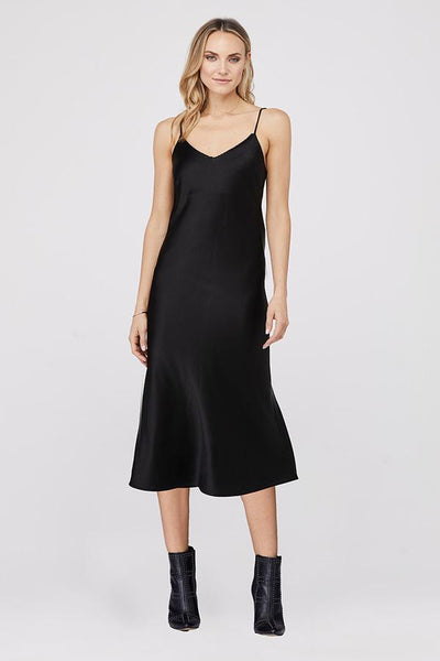 David Lerner - Kate Bias Slip Dress w/ Chain Detail in Black