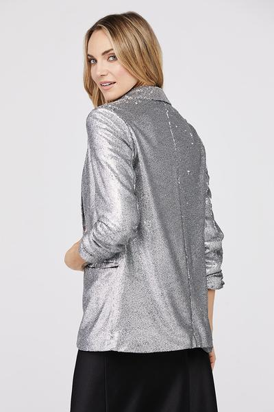 David Lerner - Hailey Oversized Blazer w/ Ruched Sleeves in Silver Sequin