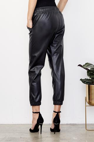 David Lerner - Blake Ankle Zip Leatherette Jogger
