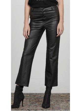 David Lerner - High Rise Button Fly Crop Flare Pant Black