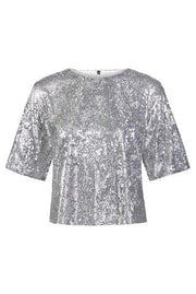David Lerner - Drop Shoulder Crop Tee Silver Sequin