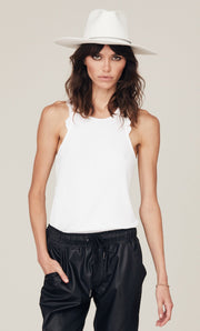David Lerner - Bridgettte Ruffle Tank, Shown in White, Comes In Speckled Fawn