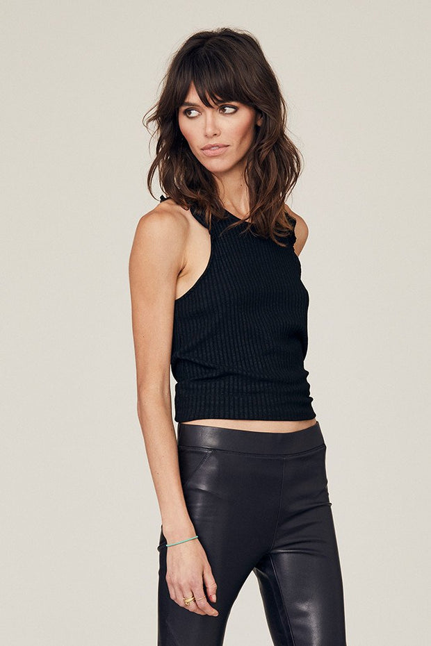 DAVID LERNER - Bridgette Heavy Rib Knit Ruffle Tank In Solid Black