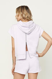 David Lerner - Short Sleeve Back-Zip Hoodie Lavender