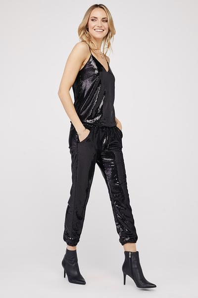 David Lerner - Chrissy V-Neck Cami in Black Sequin