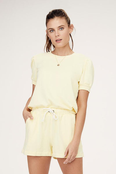 David Lerner - Jade S/S Puff Sleeve Top in Lemon