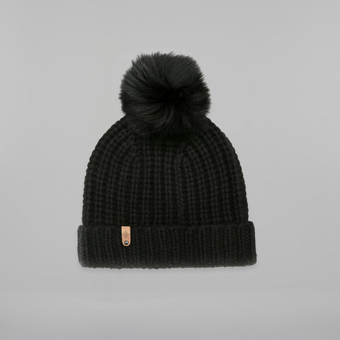 Mackage- Doris Removable Fur Pom Pom Hat Black O/S