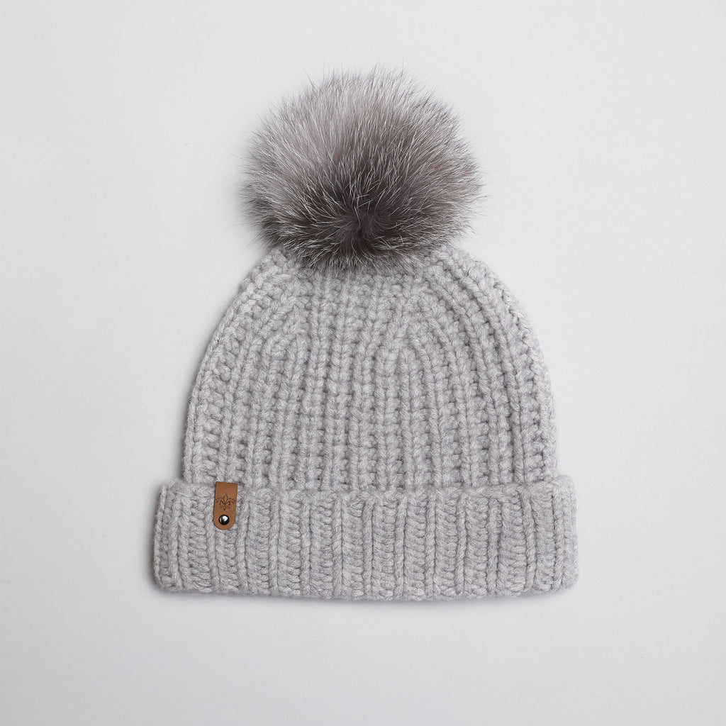 Mackage- Doris Removable Fur Pom Pom Hat Light Grey O/S