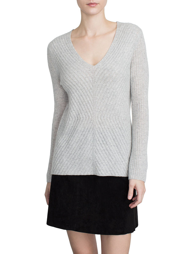 White + Warren Directional Rib Vneck Silver Heather at Blond Genius - 2