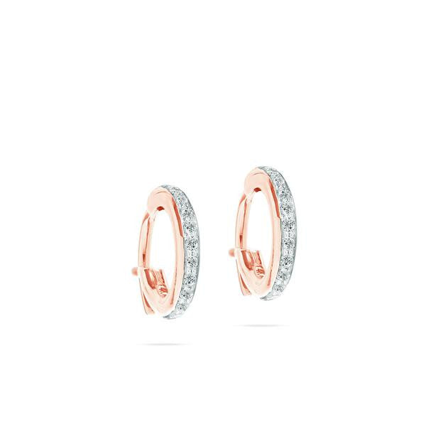 Adina - Pave Huggie Hoops Rose Gold 14K