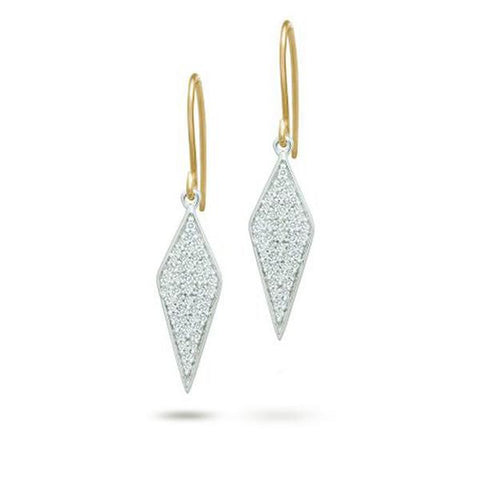Adina - Long Solid Pave Diamond Earrings