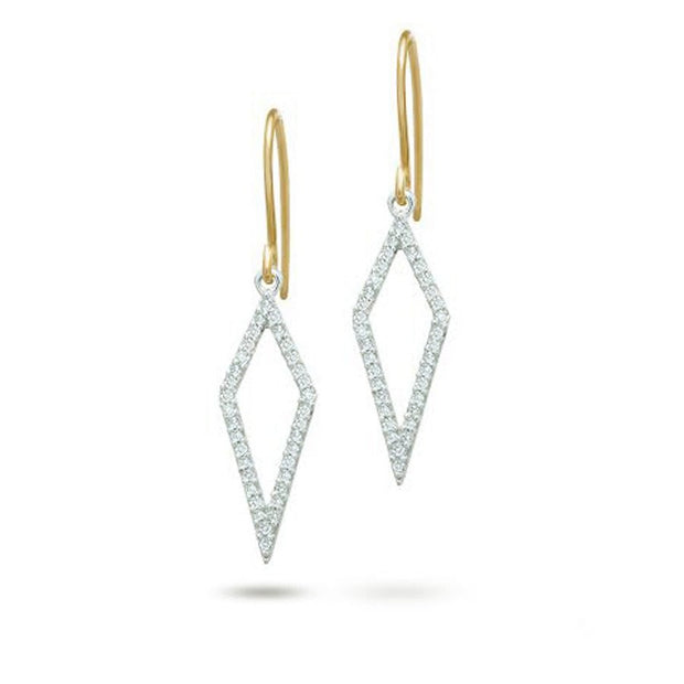 Adina - Long Open Pave Diamond Earrings Mixed