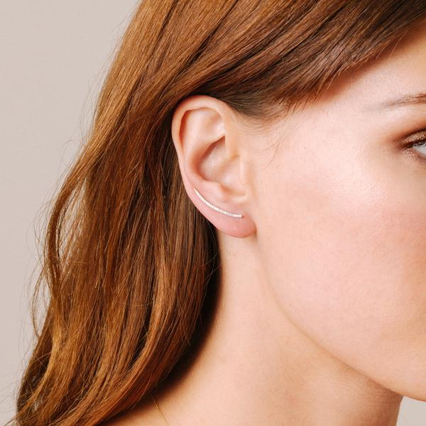 Adina Reyter - Large Pave Curve Wing Earrings in Yellow Gold