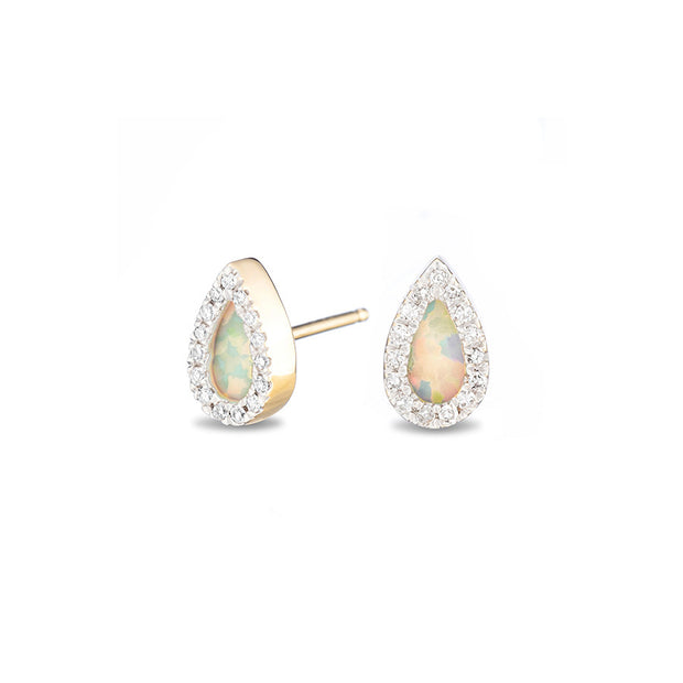 Adina Adina- Opal + Diamond Teardrop Posts at Blond Genius