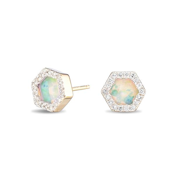 Adina Reyter - Opal Diamond Hexagon Posts