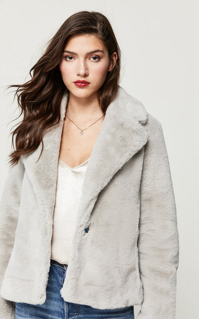 Soia & Kyo - Emanuela Faux Fur Jacket in Silver