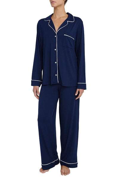 Eberjey - Gisele Long Pajama Set in Navy/Ivory