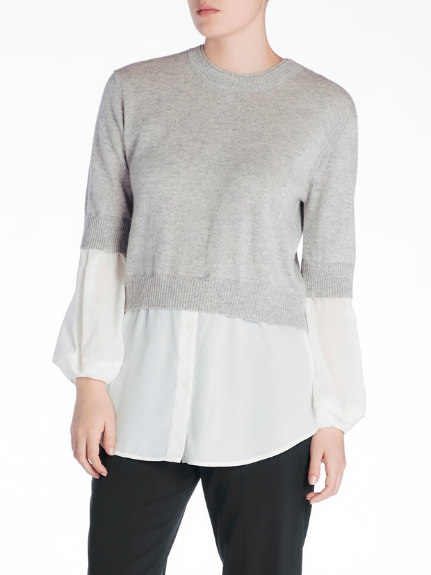 Brochu Walker - Ebella Layered Crew Top Vail Grey Mel with White