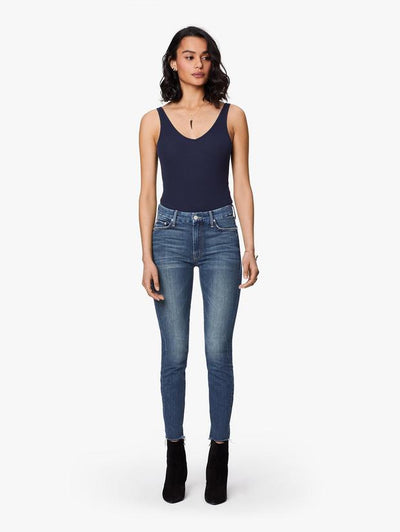 MOTHER - The Looker Ankle Fray Skinny Jeans in Gutterpunk