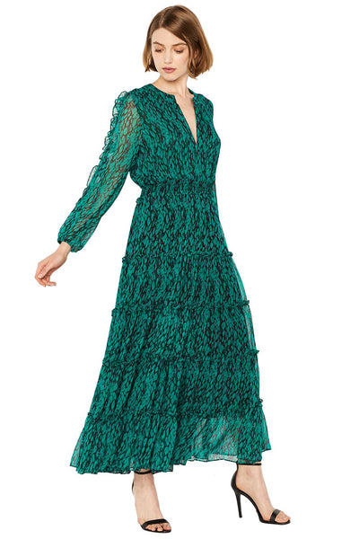 MISA - Hadeya Dress in Emerald/Black