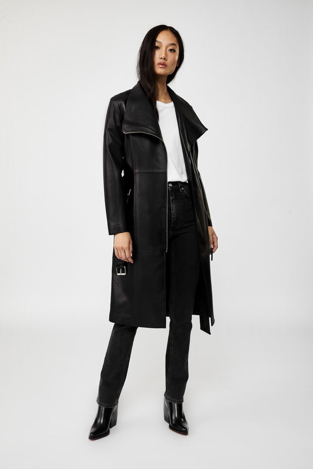 MACKAGE - Estela Tailored Leather Trench Coat in Black