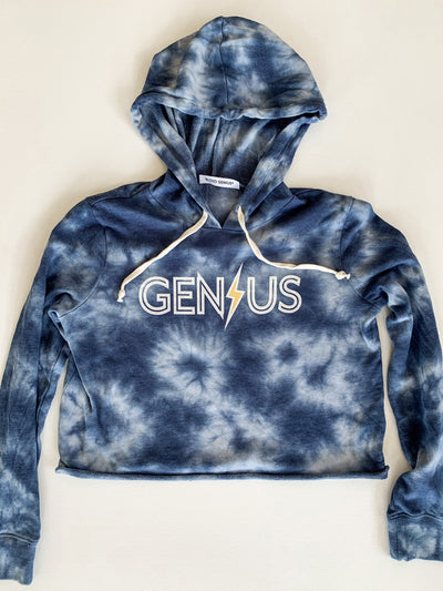 Blond Genius - Lightning Bolt Hoodie in Blue Tie Dye