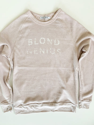 Blond Genius - Distressed Logo Sweatshirt in Rose Quartz