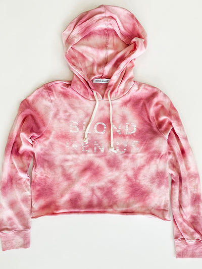 Blond Genius -Distressed Logo Hoodie in Pink Tie Dye