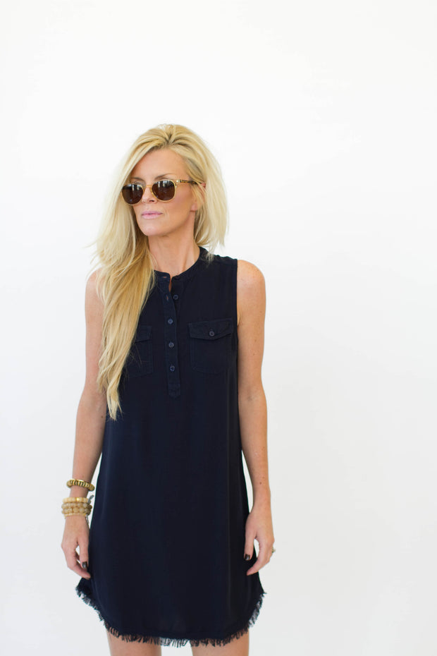 Splendid Raw Edge Dress Navy at Blond Genius