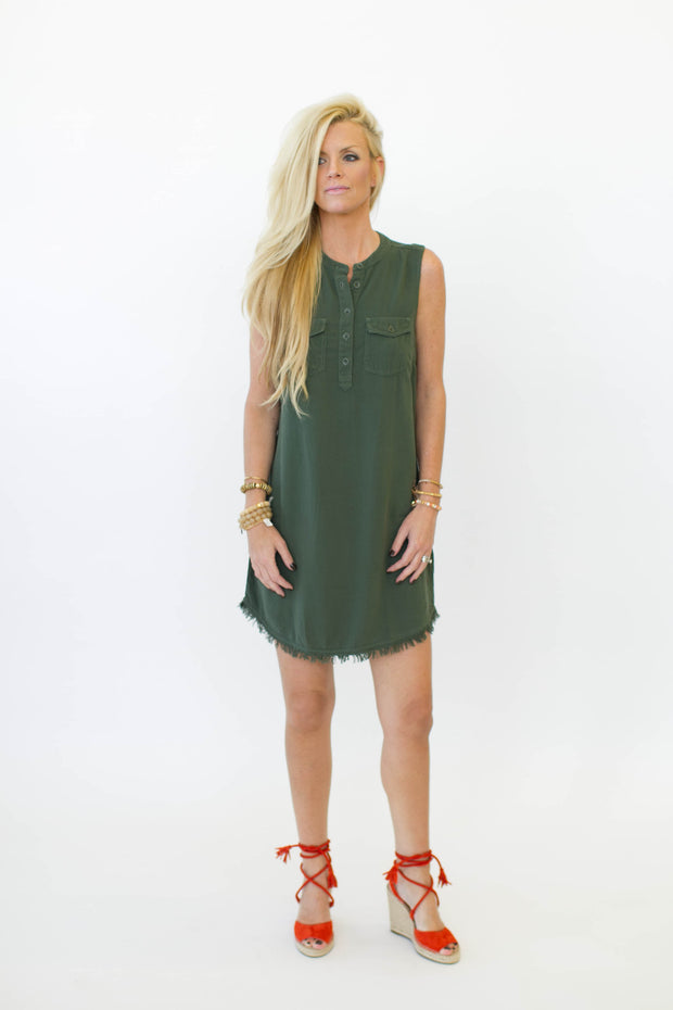 Splendid Raw Edge Dress Military at Blond Genius - 2