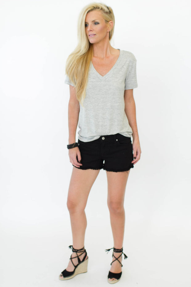 Splendid V Neck Heather Grey at Blond Genius - 1