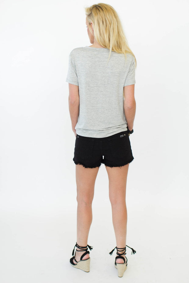 Splendid V Neck Heather Grey at Blond Genius - 2
