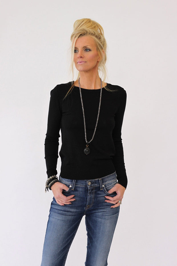 360 Sweater Ronna in Black at Blond Genius