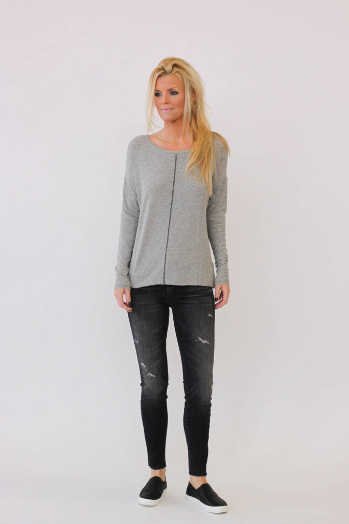 White + Warren Chevron Crewneck in Grey Heather at Blond Genius - 1