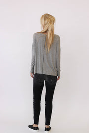 White + Warren Chevron Crewneck in Grey Heather at Blond Genius - 2