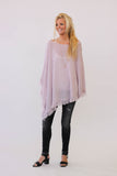 White + Warren Cashmere Fringe Poncho In Rose Quartz Heather at Blond Genius - 1