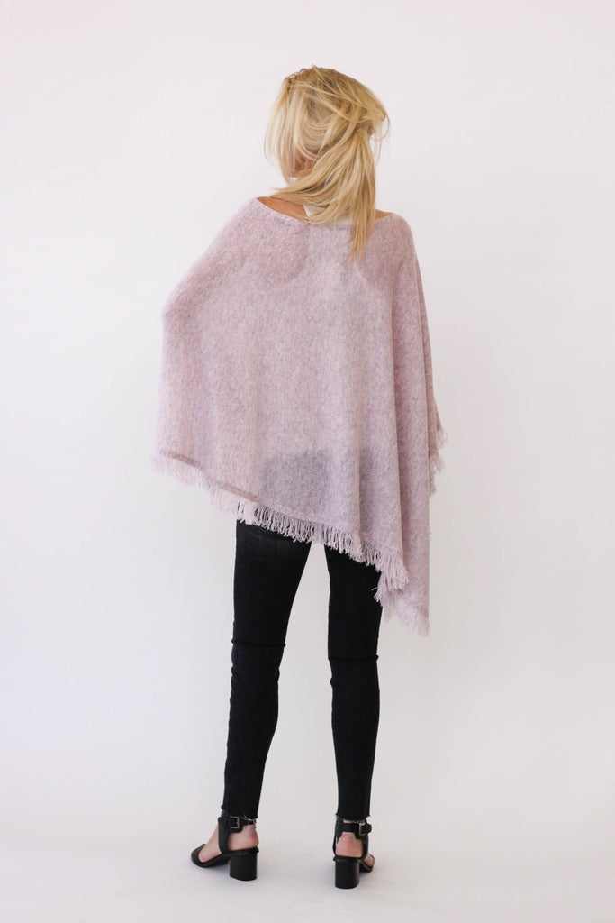 White + Warren Cashmere Fringe Poncho In Rose Quartz Heather at Blond Genius - 2