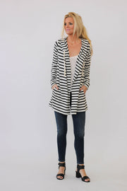 White + Warren Hooded Cardigan in Ecru/Black at Blond Genius - 1