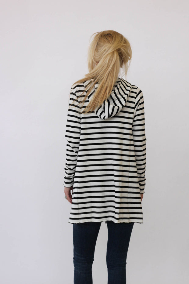 White + Warren Hooded Cardigan in Ecru/Black at Blond Genius - 2