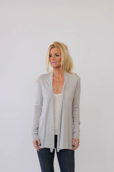 White + Warren Tuck Placket Cardigan at Blond Genius - 1