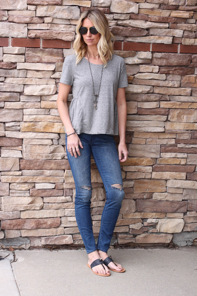 Current/Elliott The Girlfriend Tee Heather Grey at Blond Genius - 1