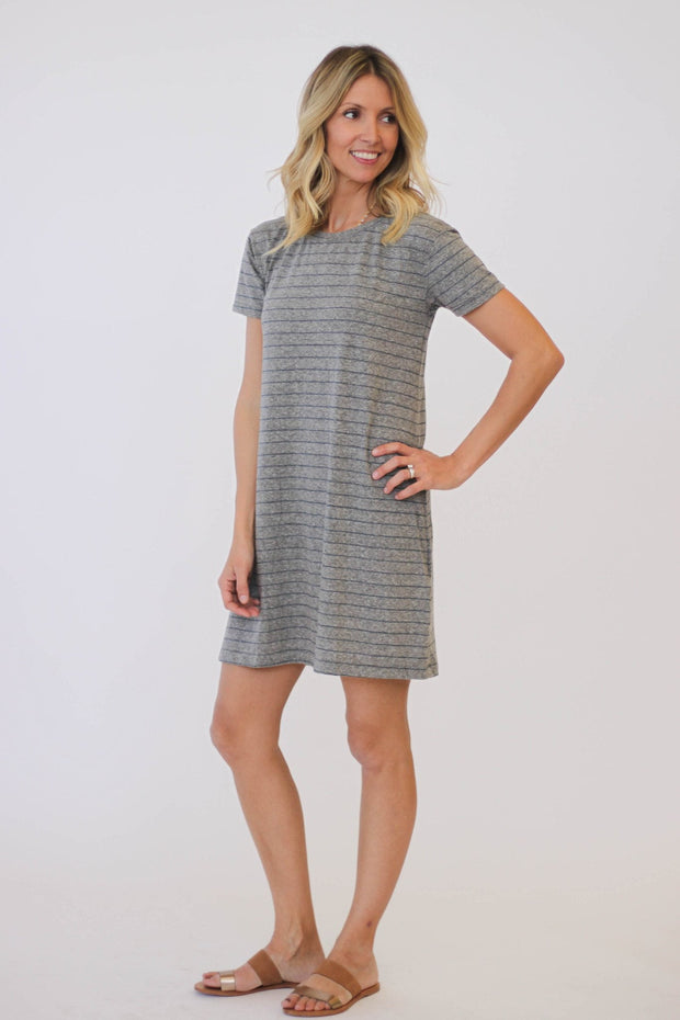 Current/Elliott The Knit Tee Dress Heather at Blond Genius - 1