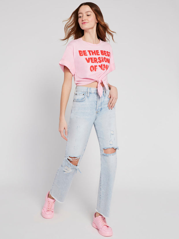 Alice & Olivia - Lera Embellished Tie Front Tee in Electric Pink/Bright Poppy