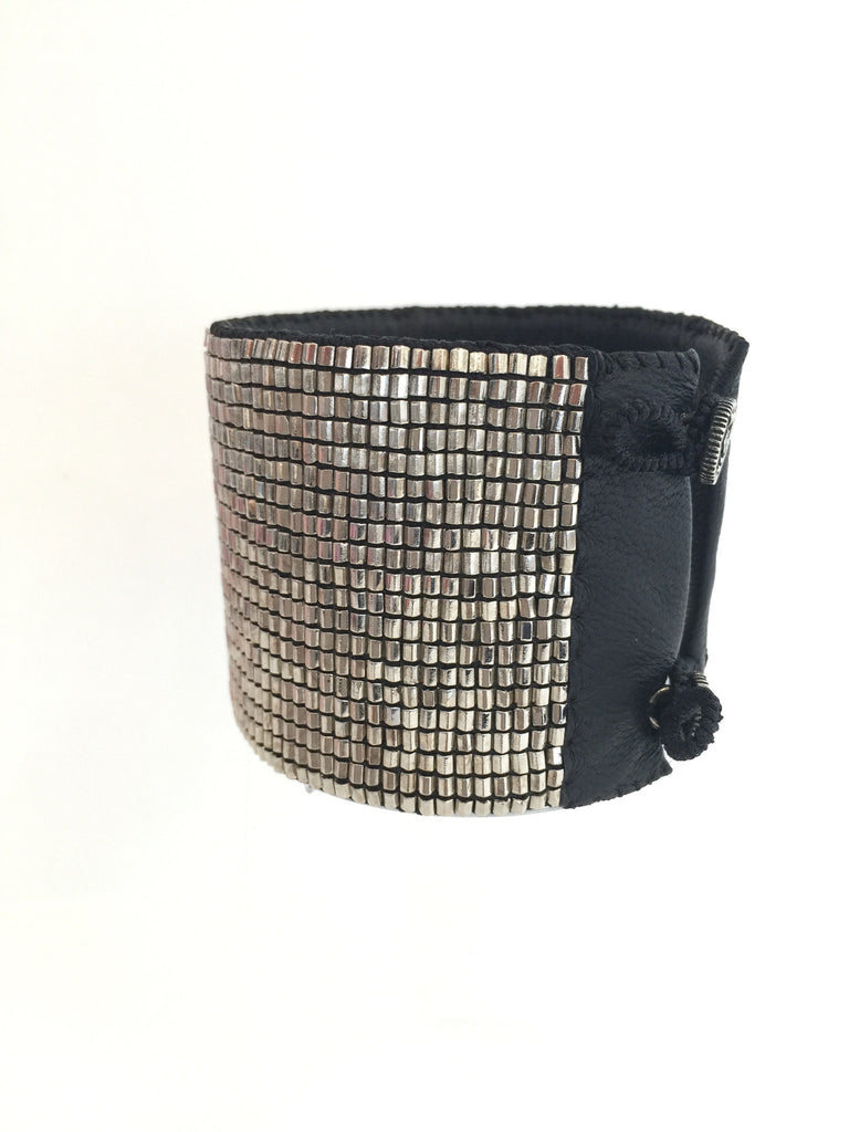Love Heals LUVH - Cross Loomed Cuff Mesh Silver at Blond Genius - 1