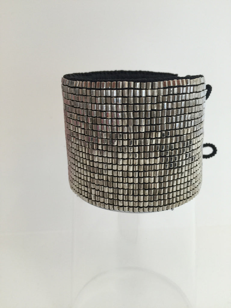 Love Heals LUVH - Cross Loomed Cuff Mesh Silver at Blond Genius - 3