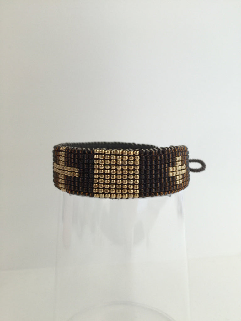 Love Heals Cross Loomed Cuff Gold at Blond Genius - 1