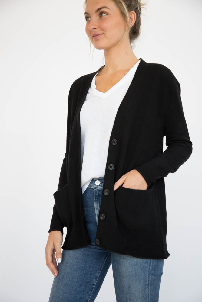 Eleis Collective -The Rib Detail Cardigan - Black