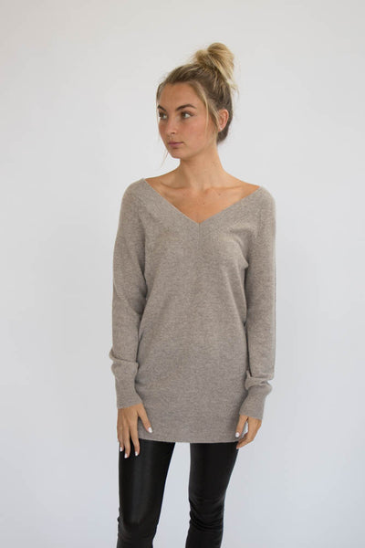 Eleis Collective -Double V Neck Tunic - Wheat